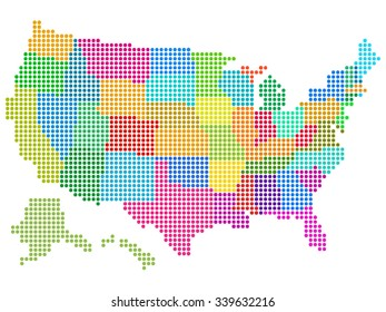 Map of the United States vector illustration with multicolored halftone Pattern. Saved in EPS 8 file. All related elements are grouped separately for easy editing.