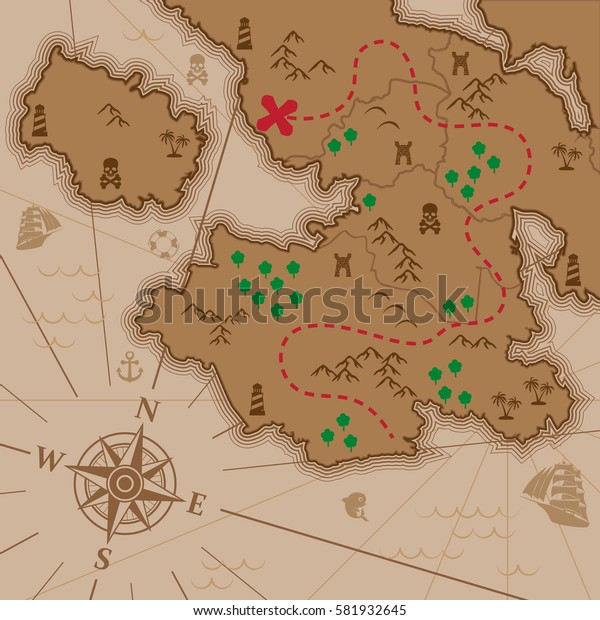 Map of unknown continent with treasure way stroke