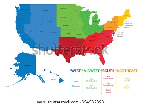 Map Us Regions Maps Usa Stock Vector Royalty Free 354532898