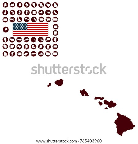 Map Us State Hawaii On White Stock Vector Royalty Free 765403960