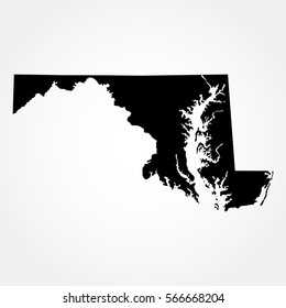 map of the U.S. state  Maryland , vector