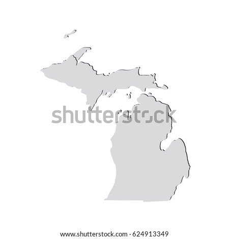 Map US State Michigan On White Stock Vector (Royalty Free) 624913349 ...