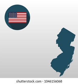 Map of the U.S. state of New Jersey on a white background. American flag