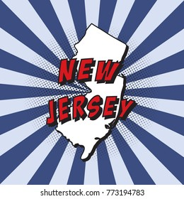 map of u.s. state new jersey in pop art style with text and halftone dots on radial rays background