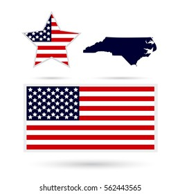 Map of the U.S. state of North Carolina on a white background. American flag, star.