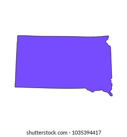 Map of the U.S. state of South Dakota on a white background