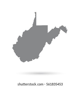 Map of the U.S. state of West Virginia on a white background.