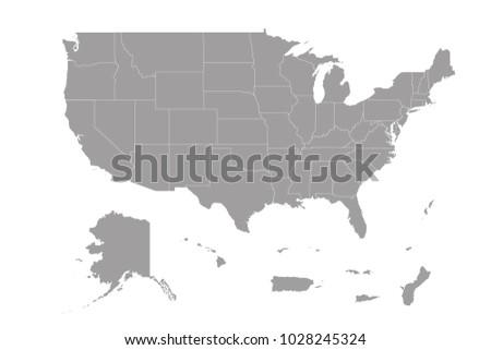 Map Us Territories Stock Vector (Royalty Free) 1028245324 - Shutterstock