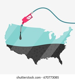 Map of USA being fueled by oil. Gas pump fueled map. On the map there is glass reflection. Conceptual. Oil producing or importing countries.