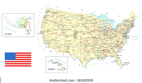 map of usa detailed