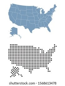 Map of USA with dots and states