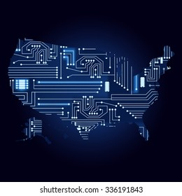 Map of USA with electronic circuit. Contour map of United States with a technological electronics circuit.
