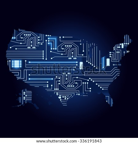 Map USA Electronic Circuit Contour Map Stock Vector (Royalty Free ...
