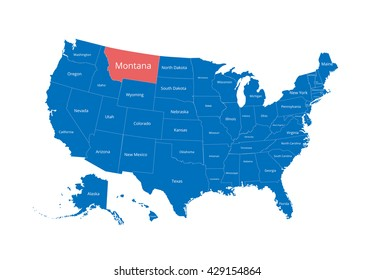 Map of the USA. Image with clipping path and name of states. State mark. Montana. Vector illustration.