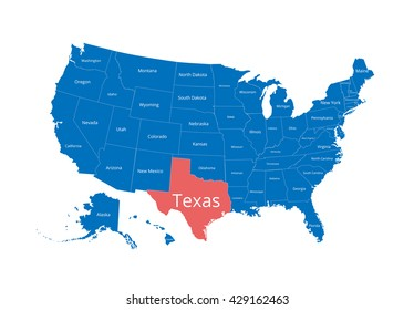 Map of the USA. Image with clipping path and name of states. State mark. Texas. Vector illustration.