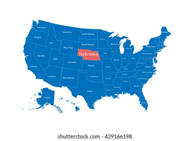 Map of the USA. Image with clipping path and name of states. State mark. Nebraska. Vector illustration.