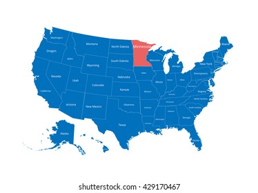 Map of the USA. Image with clipping path and name of states. State mark. Minnesota. Vector illustration.