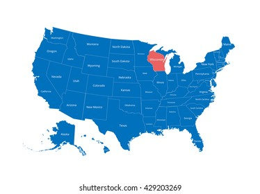 Map of the USA. Image with clipping path and name of states. State mark. Wisconsin. Vector illustration.