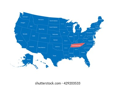 Map of the USA. Image with clipping path and name of states. State mark. Tennessee. Vector illustration.