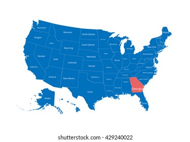 Map of the USA. Image with clipping path and name of states. State mark. Georgia. Vector illustration.
