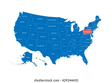 Map of the USA. Image with clipping path and name of states. State mark. Pennsylvania. Vector illustration.