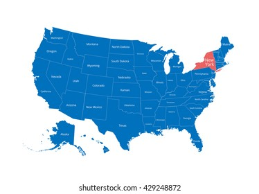 Map of the USA. Image with clipping path and name of states. State mark. New York. Vector illustration.