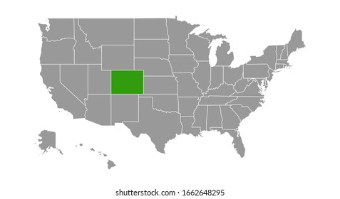map of USA with the indication of State of Colorado.