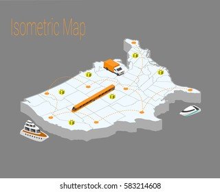 Map usa isometric concept. 3d flat illustration of Map usa. usa map infographics design template