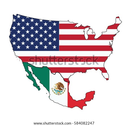 Map Usa Mexico Flag On White Stock Vector Royalty Free 584082247