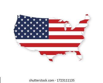 Map of the USA with the national flag of United States of America isolated on white background. Vector illustration.