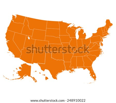 Map Of Usa Vector.Map Usa Orange Color Vector Illustration Stock Vector Royalty Free