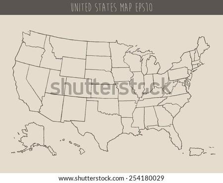 Map USA Separable Borders Hand Drawn Stock Vector (Royalty Free ...