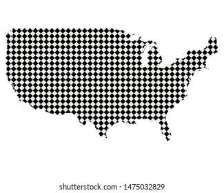 Map of the USA with small rhombs
