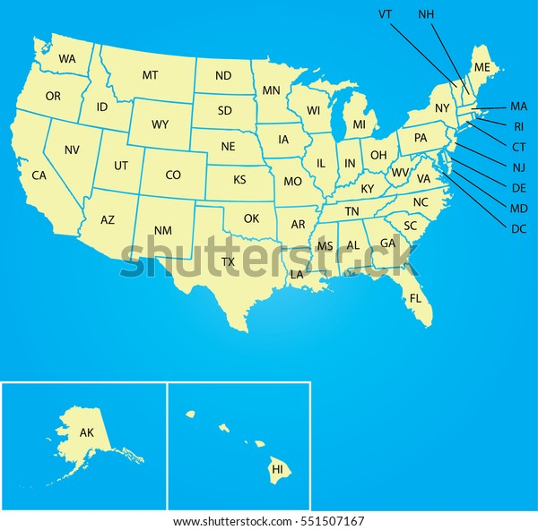 Map Usa State Abbreviations Stock Vector (Royalty Free ...
