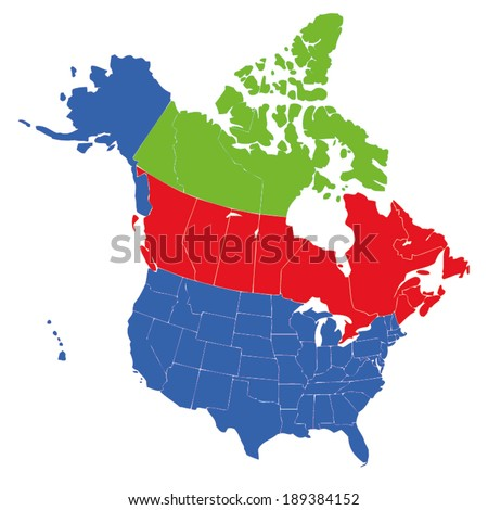 Map Of Usa Canada.Map Usa States Canada Provinces Hawaii Stock Vector Royalty Free
