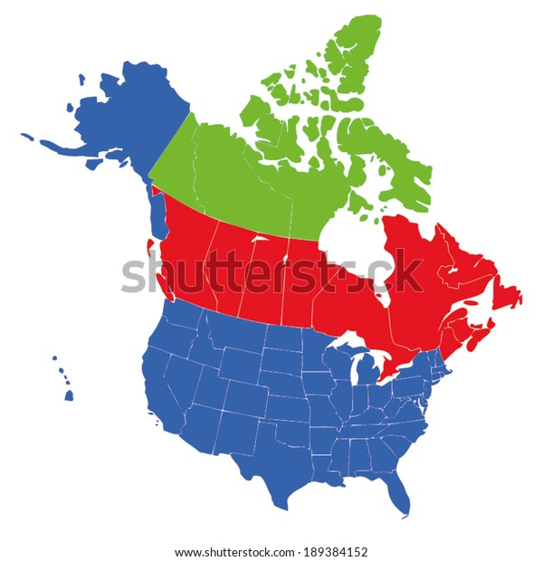 Map Usa States Canada Provinces Hawaii Stock Vector (Royalty ...