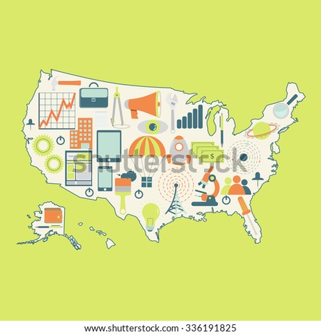 Map USA Technology Icons Contour Map Stock Vector (Royalty Free ...