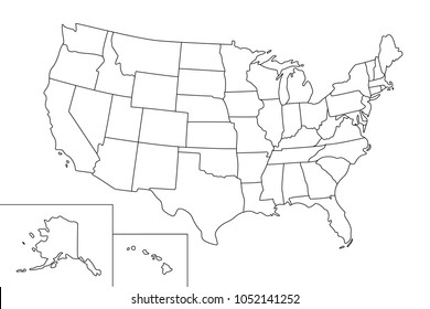 Map of the USA (United States of America). Vector map