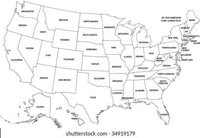 Map of USA - vector