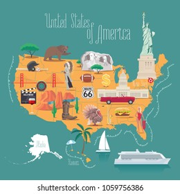 Map of USA vector illustration, design. Icons with American capitol, hollywood, Rushmore mountain. Alaska and Hawaii states. Explore United states of America concept image