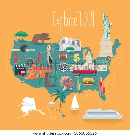 Map USA Vector Illustration Design Icons Stock Vector (Royalty Free ...