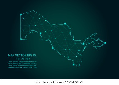 Map of uzbekistan - Abstract mash line and point scales on dark gradient background. Wire Frame 3D mesh polygonal network line, design sphere, dot and structure. Vector illustration eps 10