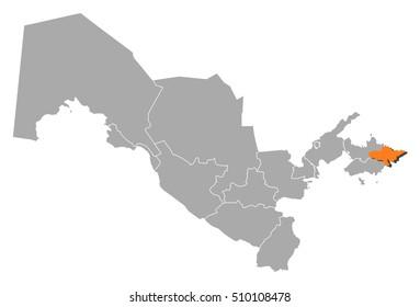 Map - Uzbekistan, Andijan