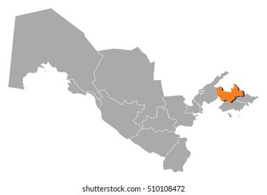 Map - Uzbekistan, Namangan