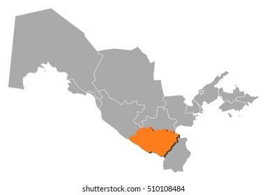 Map - Uzbekistan, Qashqadaryo
