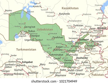 Map of Uzbekistan. Shows country borders, urban areas, place names and roads. Labels in English where possible.Projection: Mercator.