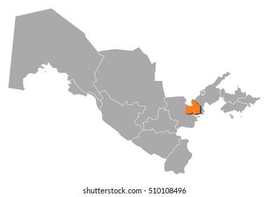 Map - Uzbekistan, Sirdaryo