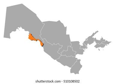 Map - Uzbekistan, Xorazm