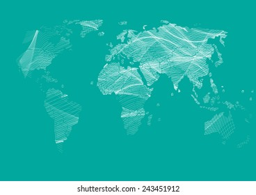 Map vector drawing lines for background and text