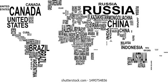Map vector illustration with country names